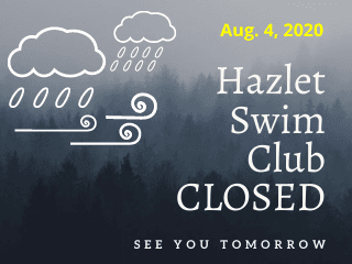 Swim Club Closed: Wind and Rain